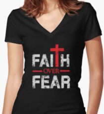Faith over Fear - Big Cross - Christian  Women's Fitted V-Neck T-Shirt