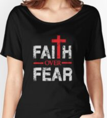 Faith over Fear - Big Cross - Christian  Women's Relaxed Fit T-Shirt