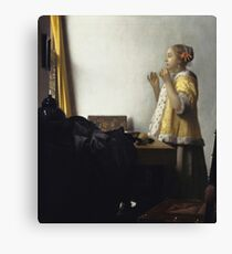 Johannes Vermeer - Young Woman With A Pearl Necklace (Around 1662) Canvas Print