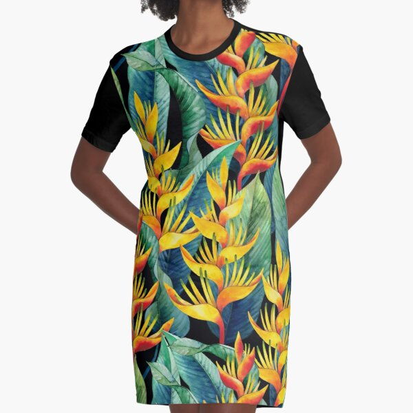 Watercolor heliconia Graphic T-Shirt Dress