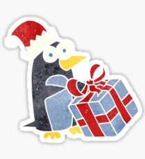 retro cartoon christmas penguin Sticker