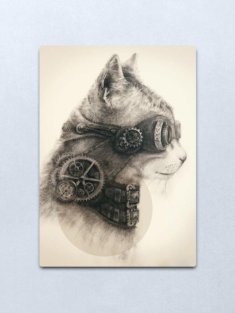 Alternate view of Steampunk cat Metal Print