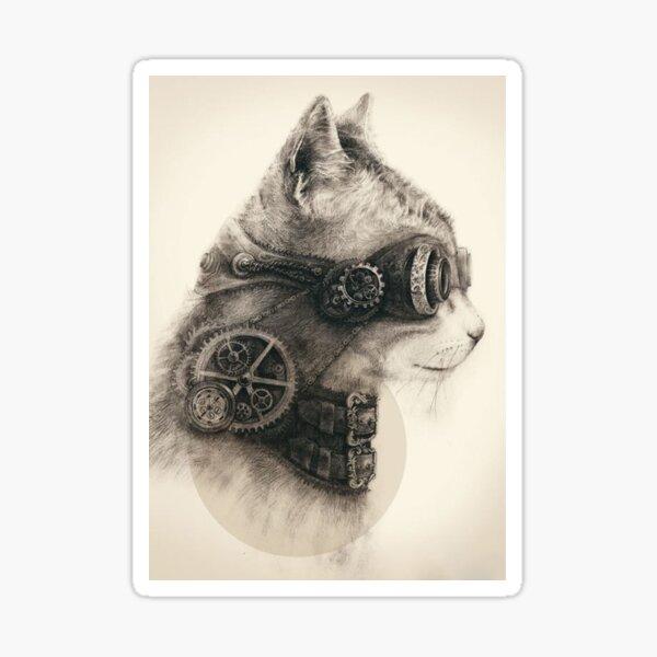 Steampunk cat Pegatina