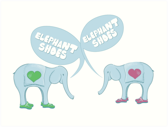 Elephant Shoes Valentines Day Card Art Prints by Danielle – Elephant Valentines Card