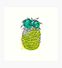 Juice pineapple. Hand drawn tropical fruit with watercolour splash Art Print