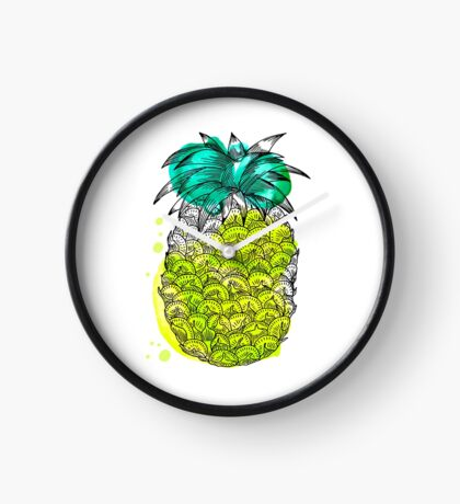 Juice pineapple. Hand drawn tropical fruit with watercolour splash Clock