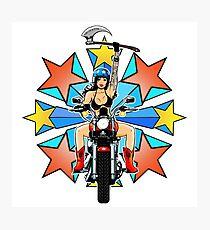 Retro Warrior Woman Biker Burst Photographic Print