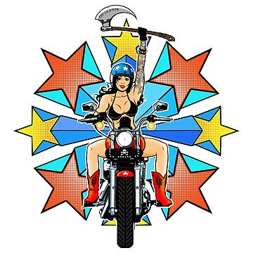 Retro Warrior Woman Biker Burst by DeadMonkeyShop