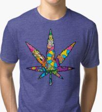 Magic mushroom pattern hippie marijuana leaf symbol  Tri-blend T-Shirt