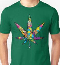 Magic mushroom pattern hippie marijuana leaf symbol  Unisex T-Shirt