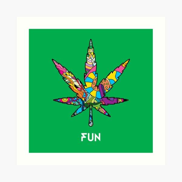 Magic mushroom pattern hippie marijuana leaf symbol  Art Print