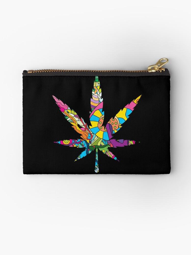 Magic Mushroom Pattern Hippie Marijuana Leaf Symbol Studio Pouches
