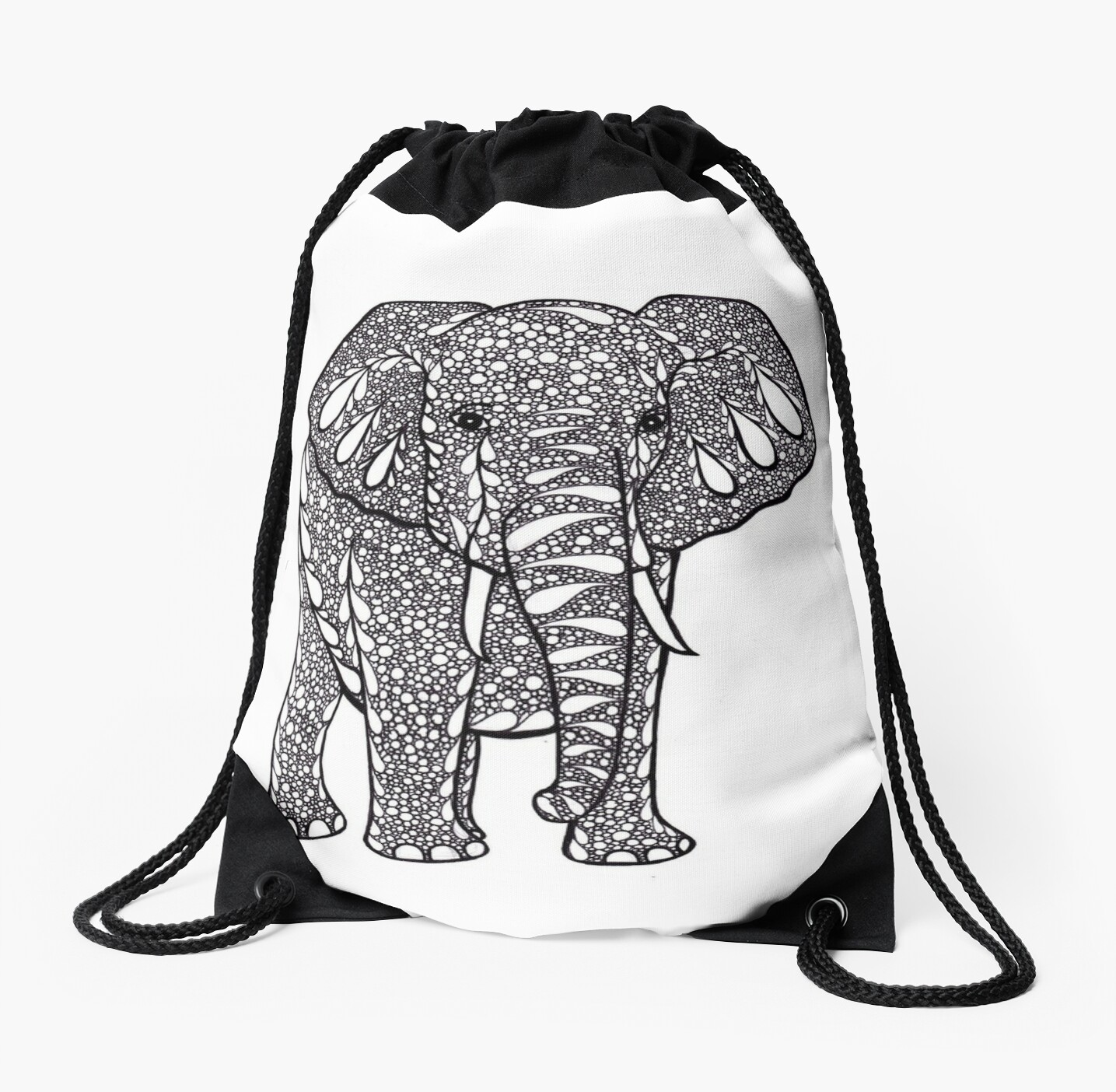 Mandala elephant drawing black and white