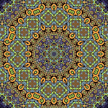 Psychedelic jungle kaleidoscope ornament 12 by grebenru
