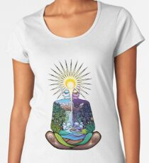 Psychedelic meditating Nature-man Women's Premium T-Shirt
