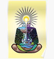 Psychedelic meditating Nature-man Poster