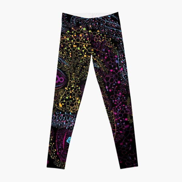 Acid Scientist tongue out psychedelic art poster Leggings