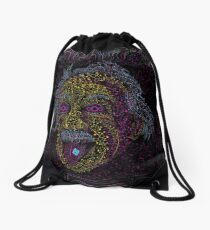 Acid Scientist tongue out psychedelic art poster Drawstring Bag