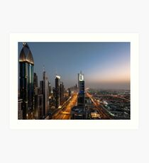 Dubai Sheikh Zayed road Art Print