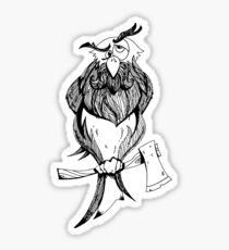 black and white wise old owl cartoon  Sticker
