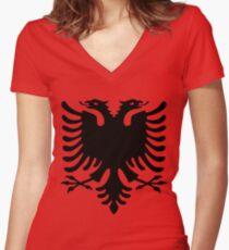 Albania Flag Women's Fitted V-Neck T-Shirt