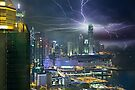 Skyline of Hong Kong with Lightning by Delfino