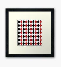 Red, black, white, rhombus pattern, geometric design Framed Print
