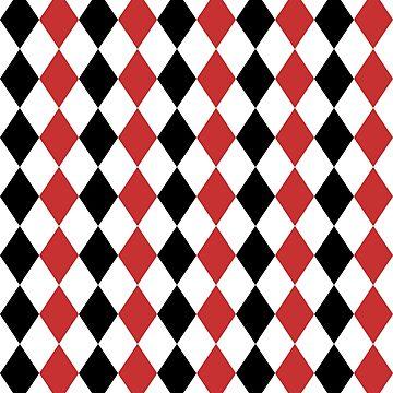 Red, black, white, rhombus pattern, geometric design by cool-shirts