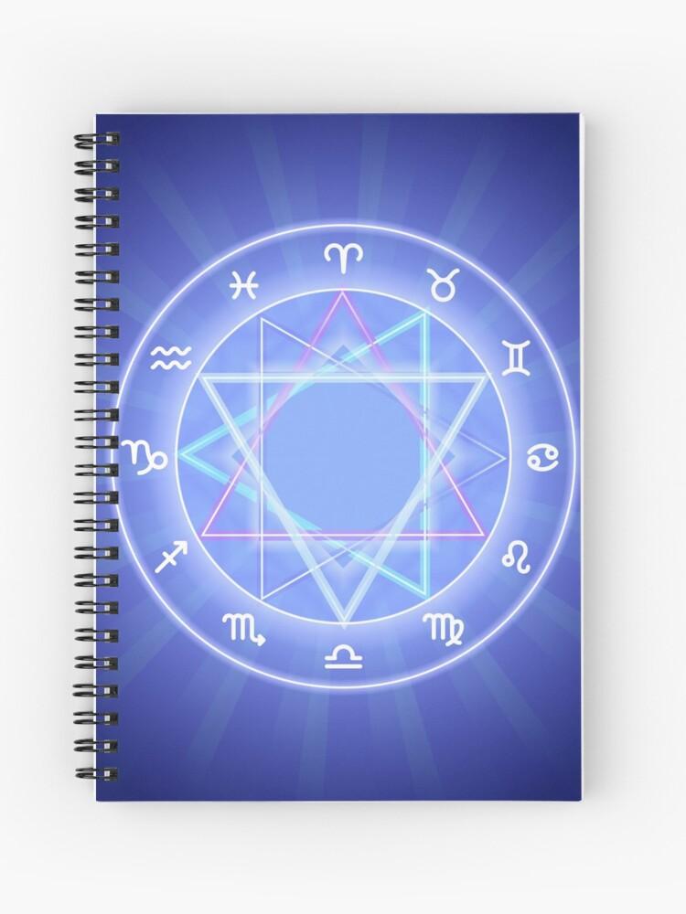 Zodiac circle, glowing Zodiac signs set on dark blue | Spiral Notebook