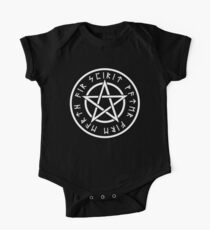 WICCA, Pentacle, Pentagram, Witch, Wizard, Modern, Pagan, Witchcraft, Religion, Cult, WHITE ON BLACK One Piece - Short Sleeve