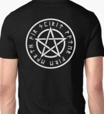 WICCA, Pentacle, Pentagram, Witch, Wizard, Modern, Pagan, Witchcraft, Religion, Cult, WHITE ON BLACK Unisex T-Shirt