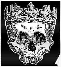 SKULL KING, DEATH, King of the Dead, Skull, Crown, on BLACK Poster
