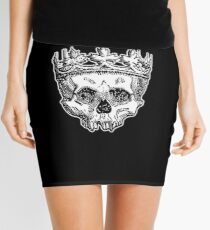 SKULL KING, DEATH, King of the Dead, Skull, Crown, on BLACK Mini Skirt
