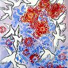 Floral Doves by Ming  Myaskovsky