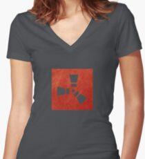 Rost-Logo Tailliertes T-Shirt mit V-Ausschnitt