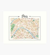Watercolor map of Paris Art Print
