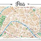 Watercolor map of Paris by Rouages Design