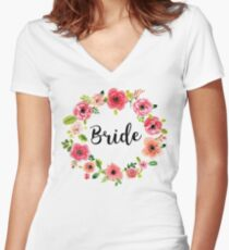 Bride Boho Chic Bohemian Flair Floral Wreath Women's Fitted V-Neck T-Shirt
