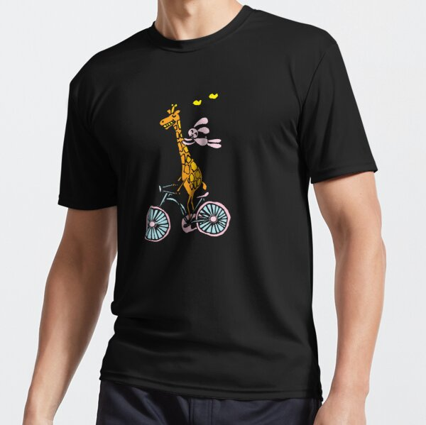 Bunny going for a ride with Giraffe Active T-Shirt