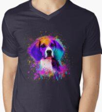 Colorful Beagle Dog Portrait Men's V-Neck T-Shirt