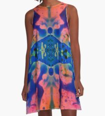 Pink Blue Psychedelic Pattern A-Line Dress