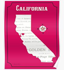 California State Outline with Heart - Illustration by Loose Petals Poster