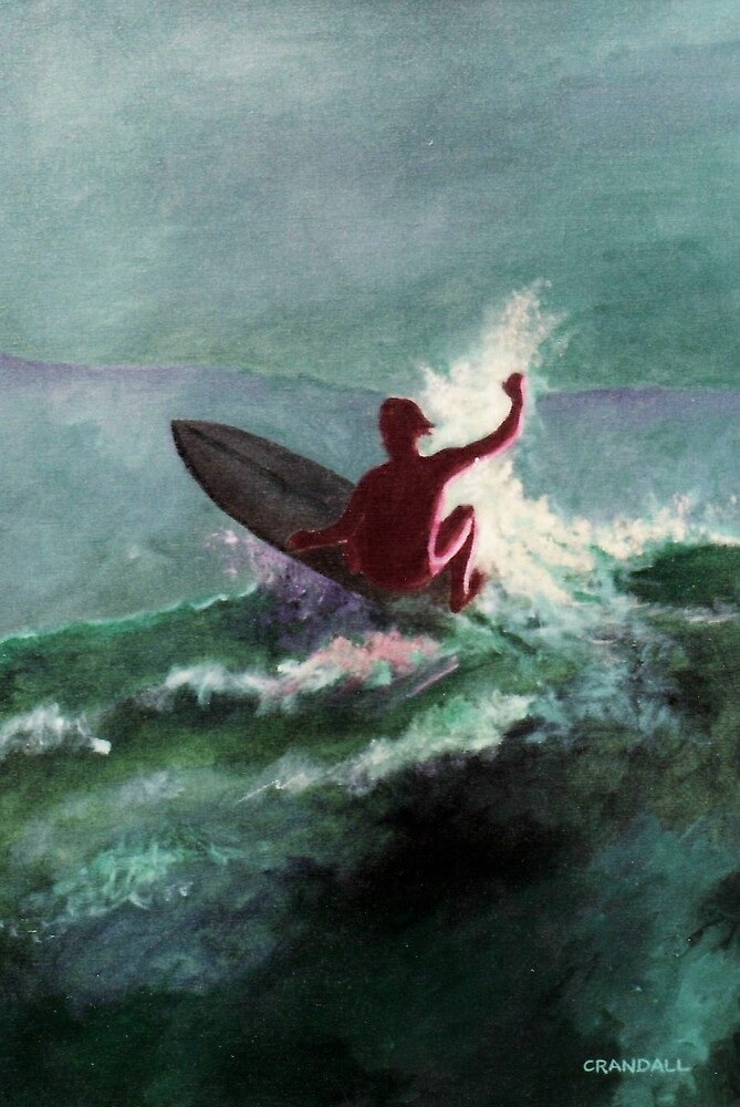 Surfer with green sky by Gary  Crandall