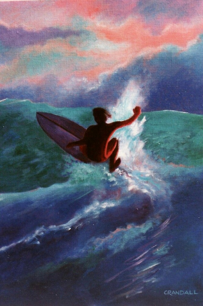 Surfer with red sky by Gary  Crandall