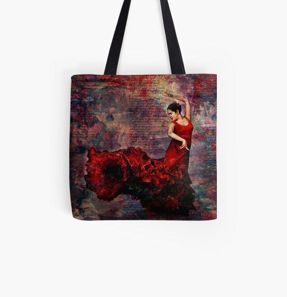 Flamenco - vibrant Spanish dancer All Over Print Tote Bag