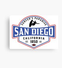 SURFING SAN DIEGO SURF CALIFORNIA SURFER'S PARADISE BEACH SURFBOARD Canvas Print