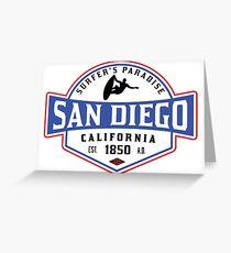 SURFING SAN DIEGO SURF CALIFORNIA SURFER'S PARADISE BEACH SURFBOARD Greeting Card