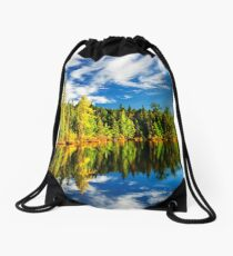 Forest reflecting in lake Drawstring Bag