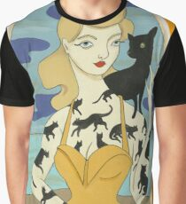 Black Cat Tattooed Lady Graphic T-Shirt