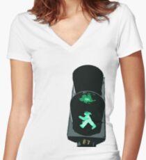 Lights, traffic, action Women's Fitted V-Neck T-Shirt